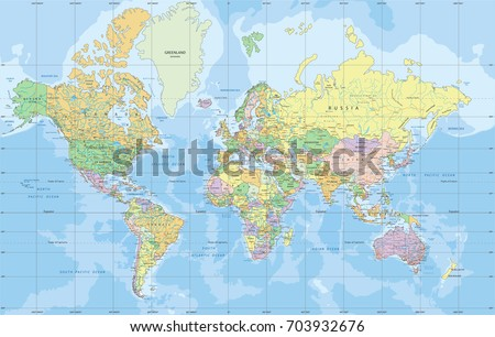 Political World map in Mercator projection. #703932676
