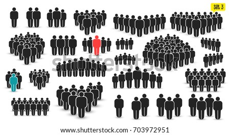 People icon set in trendy flat style. Persons symbol for your infographics website design, logo. Crowd signs. Vector illustration. Isolated on white background