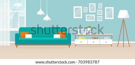 Interior of the living room. Vector banner. Design of a cozy room with sofa, TV stand, window and decor accessories.  Royalty-Free Stock Photo #703983787