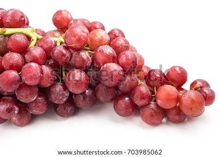 Red grapes on a white background. #703985062