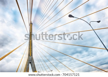 Abstract structural of bridge against cloud sky #704157121