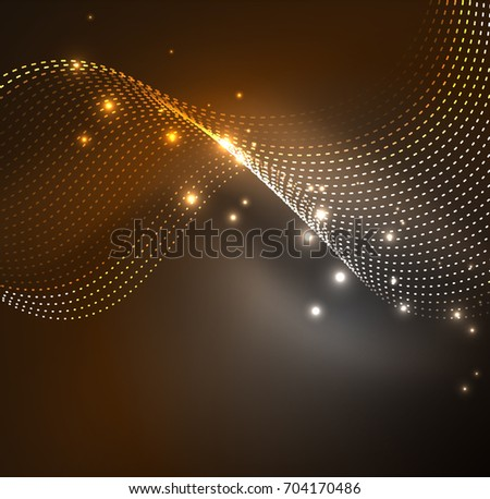 wave particles background - 3D illuminated digital wave of glowing particles. Futuristic and technology illustration, HUD modern element #704170486