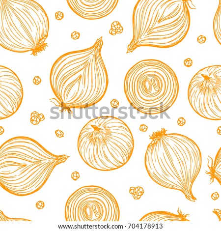 Pretty sketched seamless pattern made of hand drawn onion. Royalty-Free Stock Photo #704178913