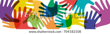 Vector banner teamwork, open hands. Solidarity concept, background Royalty-Free Stock Photo #704182108