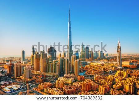Beautiful view on Dubai downtown skyline,Dubai,United Arab Emirates Royalty-Free Stock Photo #704369332