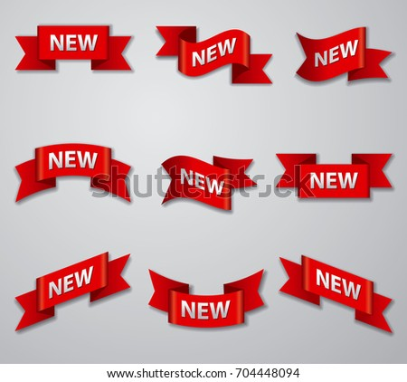 illustration of set of advertising glossy banners and tags for new product #704448094