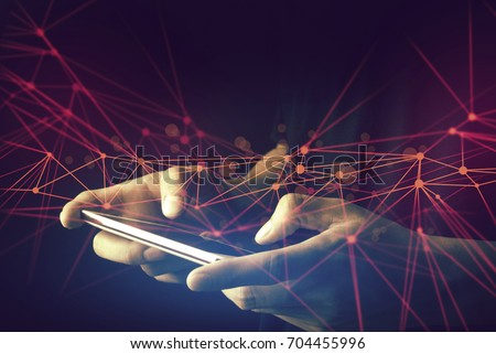 male use by hand and finger to mobile phone connect to digital cyber social network, touch on screen to link with system of internet for business, device transfer for big data information online #704455996
