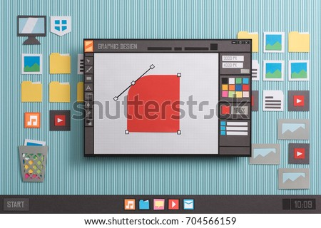 Graphic design and vector illustration software interface: shape editing using bezier curves, anchor points and handles, collage and paper cut composition #704566159
