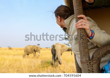 Woman on safari game drive enjoying close encounter with elephants in Kenya Africa Royalty-Free Stock Photo #704595604