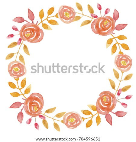 Watercolor Orange Fall Flower Wreath Autumn Floral Hand Painted Garland