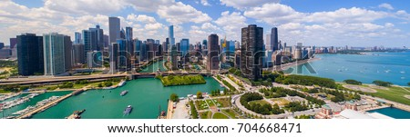 Aerial drone photo panorama of Downtown Chicago by the Navy Pier