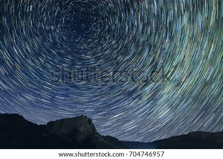 Star trails astro photography at dark night