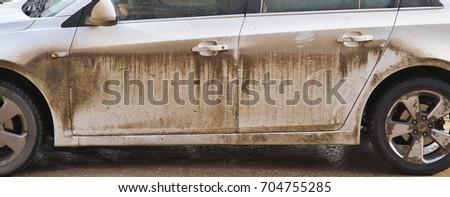 Dirty car side. Element of design. #704755285