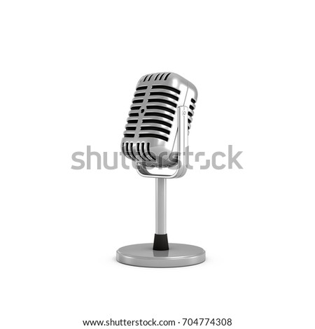 3d rendering of a silver metal retro tabletop microphone with a round base. Public speaking. Talking to audience. Master class. #704774308