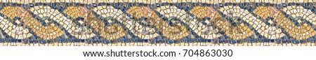 Italian roman mosaic with circular graphic - seamless pattern