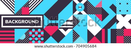Simple banner of decorative patterns square modules colored geometric composition in Scandinavian style #704905684