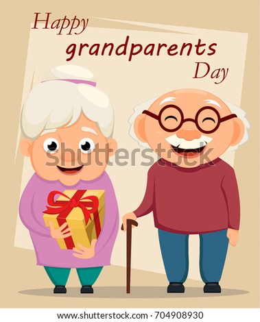 Grandparents day greeting card. Grandmother and grandfather standing together. Grandpa with cane and grandma with gift box. Raster illustration