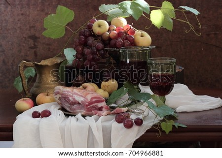 brisket country - style and red wine with fruits on wooden table  #704966881