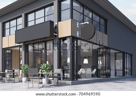 Modern black and gray cafe interior with a round and a rectangular signs, wooden tables and metal chairs. 3d rendering mock up