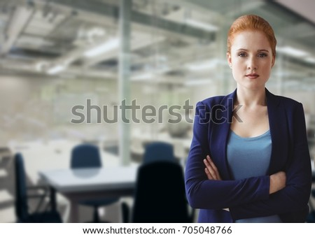 Digital composite of Angry business woman standing #705048766