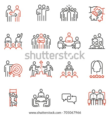 Vector set of 16 linear quality icons related to team work, human resources, business interaction. Mono line pictograms and infographics design elements - part 2 Royalty-Free Stock Photo #705067966