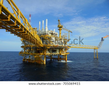 Offshore construction platform for production oil and gas, Oil and gas industry and hard work, Production platform and operation process by manual and auto function.August 2017 #705069415