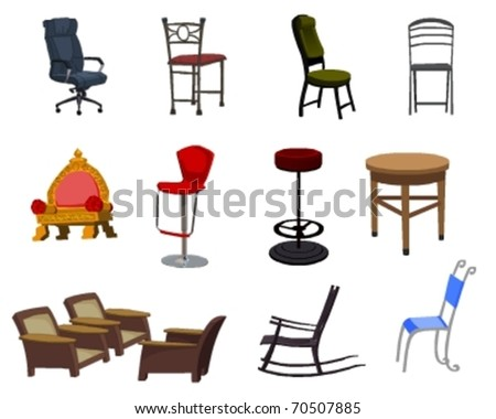 Collection of vector Chairs and office tables #70507885