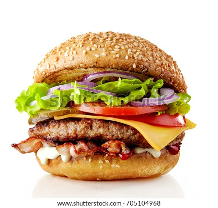 fresh tasty burger isolated on white background #705104968