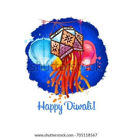 Happy Diwali digital art illustration isolated on white background. Hindus festival of lights. Deepavali hand drawn graphic clip art drawing for web, print. Decorative paper lattern lamps in sky