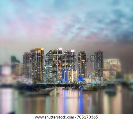 San Diego, California. Night view of Downtown buildgs with water reflections. #705170365