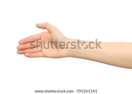 Woman's hand who is willing to make a deal isolated on white #705261541