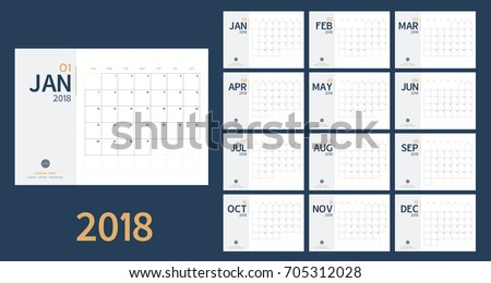 Vector of 2018 new year calendar in clean minimal table simple style and blue and yellow color,Holiday event planner,Week Starts Sunday,A5 size. Royalty-Free Stock Photo #705312028
