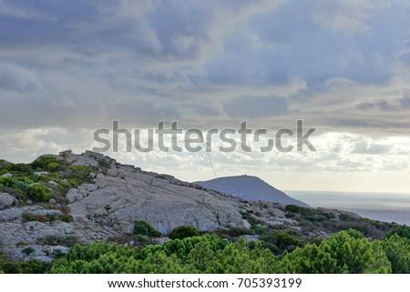 Landscape near Notre Dame de la Serra, Calvi, Corsica,  France #705393199