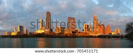 Panorama of Austin skyline glowing at sunset
