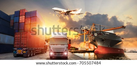 Logistics and transportation of Container Cargo ship and Cargo plane with working crane bridge in shipyard at sunrise, logistic import export and transport industry background #705507484