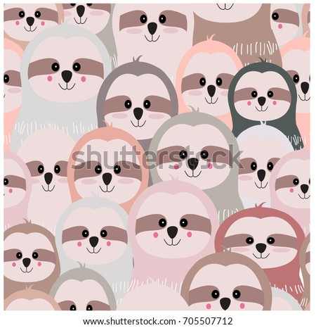 Vintage cute lovely funny sloth cartoon seamless,pastel pink grey wild romantic color, happiness smile adorable pattern,invitation card background illustration vector,hand draw style doodle comic art