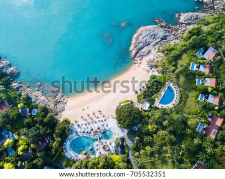 Aerial view from the drone on the luxury resort at Samui island,Thailand