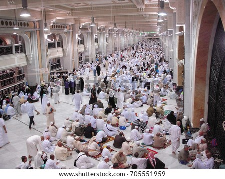 Mecca, Saudi Arabia - November 5, 2009; Pilgrim waiting for pray time at walking path from Marwah hill to Safa hill. #705551959