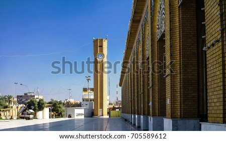 Exterior view of Abu Hanifa Mosque with the clocktower - 30-10-2011 Baghdad, Iraq #705589612