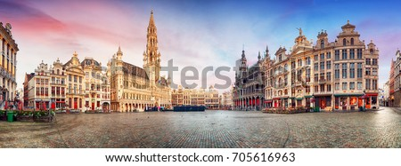 Brussels, Grand Place in beautiful summer sunrise, Belgium Royalty-Free Stock Photo #705616963