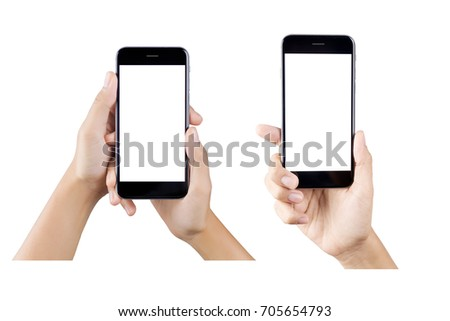 Woman hand holding smartphone isolated on white background.  white screen #705654793
