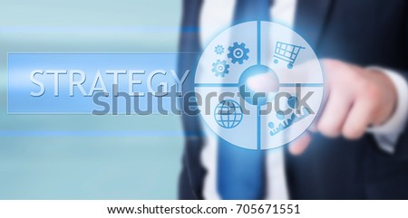 Manager touching tactile screen with modern interface for online strategy #705671551