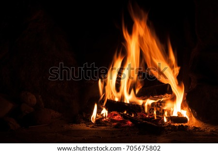 Logfire in fireplace