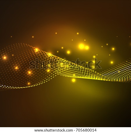 wave particles background - 3D illuminated digital wave of glowing particles. Futuristic and technology illustration, HUD modern element #705680014