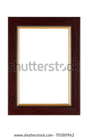 Gold-brown wooden frame isolated on white background.