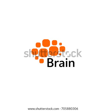 Brain Logo silhouette design vector template. Think Idea concept. Brain storm power thinking logotype icon. Isolated abstract unusual creative digital brainstorming idea symbol.  #705880306