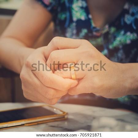 woman broken heart with ring / feel sad  #705921871