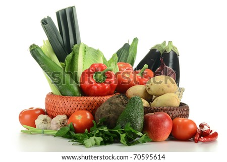 Composition with raw vegetables isolated on white background #70595614