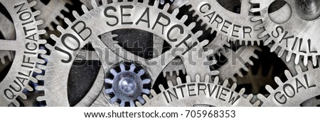 Macro photo of tooth wheel mechanism with JOB SEARCH, GOAL, SKILL, CAREER, INTERVIEW and QUALIFICATION concept words