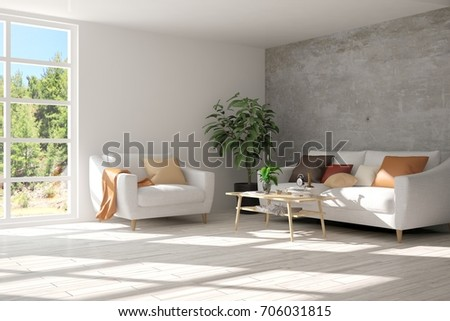 Idea of white room with sofa and summer landscape in window. Scandinavian interior design. 3D illustration #706031815